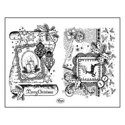 Viva Decor A5 Clear Silicone Stamps Set - Scroll Merry Christmas #90