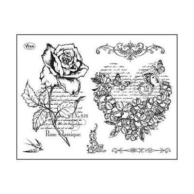 Viva Decor A5 Clear Silicone Stamps Set - Flower Heart & Rose #97
