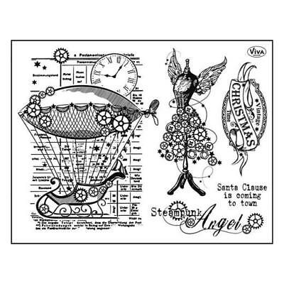 Viva Decor A5 Clear Silicone Stamps Set - Steampunk Angel #114
