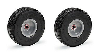 "Set of 2 Magliner Flat Free Foam Filled Carefree Tires 10"" x 3.5"" w/ Offset Hub"