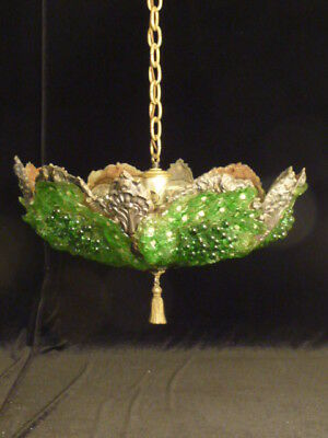 Vtg Art Deco/nouveau  Glass Flower & Grape  Chandelier