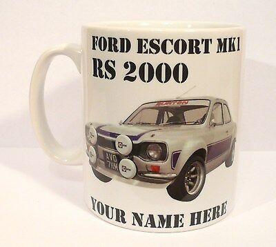 Ford Escort Mk1 RS 2000, Personalised Mug, Coffee Cup, Classic Car Gift, NEW