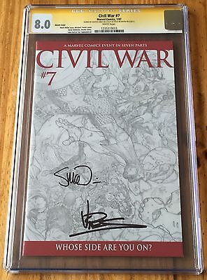 Civil War #7 sketch cover - CGC 8.0ss, signed by McNiven & Vines - Marvel Comics