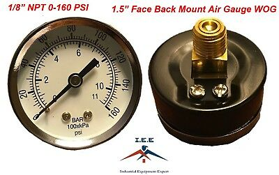 "Air Compressor Pressure/Hydraulic Gauge 1.5"" Face Back Mount 1/8"" NPT 0-160 PSI"