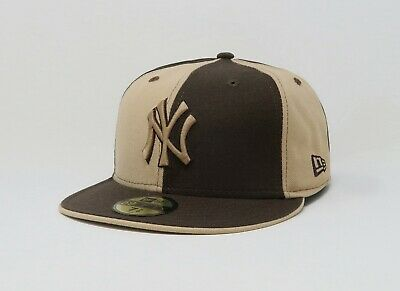 0d0b49ad NEW ERA 59FIFTY Hat Mens MLB New York Yankees Pinwheel Brown Beige NY 5950  Cap