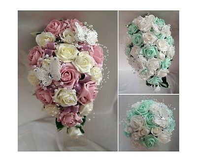 Brides,Bridesmaids,Wands Wedding Bouquet Flowers  Mint Green, dusty pink, etc..