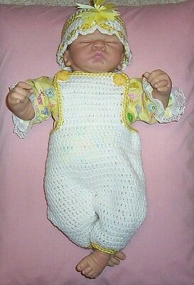 """Dolls Clothes/Outfits Yellow Crochet Overalls Fit Berenguer/Thumbelina 19-22"""""""
