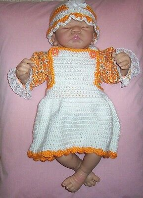 """Dolls Clothes/Outfits Peach Crochet Dress & Hat Fit Berenguer/Thumbelina 19-22"""""""