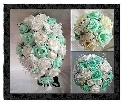 Brides,Bridesmaids,Wedding Bouquet Flowers  Mint Green and White