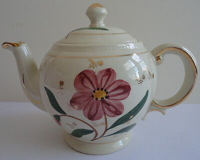 Shawnee Pottery Vintage Red Floral Teapot w/ Gold Gilt Trim & Lid #1397