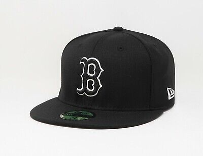 New Era 59Fifty Cap MLB Boston Red Sox Black Fitted Hat Custom made in USA