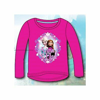 Official Frozen Girls Pink Elsa Anna Cotton Top Age 2 4 6 8  Years BNWT