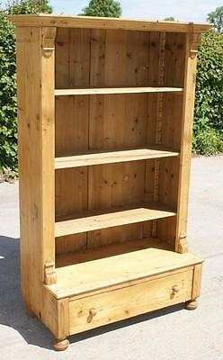 LATE 19th CENTURY ANTIQUE GERMAN PINE  BOOKCASE WITH ADJUSTABLE SHELVES