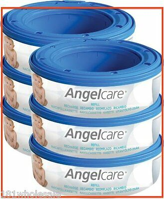 6 x Angelcare Angel care Refill Cassette Replacement bag Nappy Disposal System