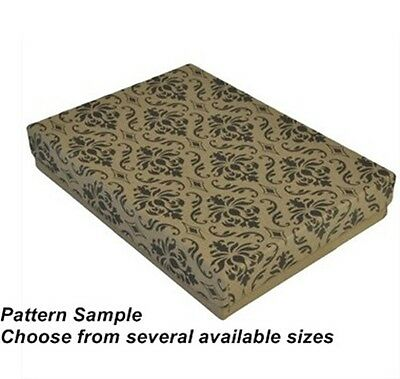 Lot of 100 Damask Pattern Cotton Filled Mixes Jewelry Gift Boxes