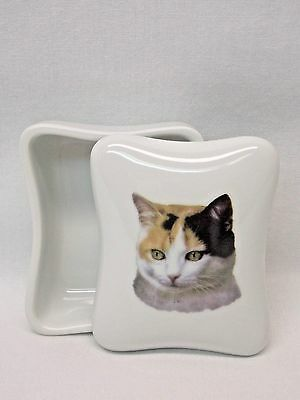 Calico Cat Dresser or Trinket Box Porcelain Fired Head Decal Nice Gift