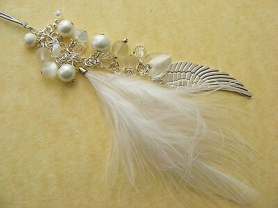 GUARDIAN ANGEL FEATHER Wing Car Grab Handle / Rear View Mirror charm Gift