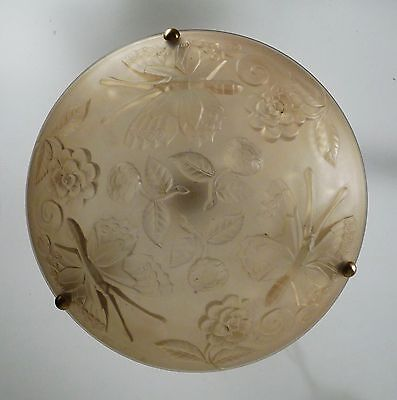 French Art Deco Satin Glass Disque Drop Chandelier Light Fixture Butterflies