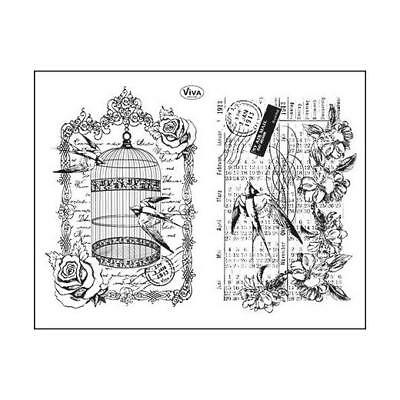 Viva Decor A5 Clear Silicone Stamps Set - Birdcage & Swallows #94