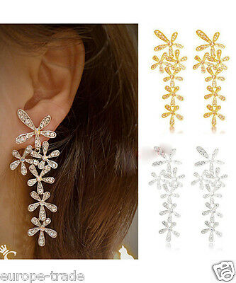 Long Butterfly Diamante Crystal Tassel Drop Dangle Chandelier Earrings