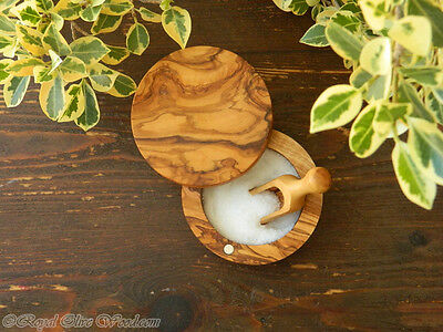 Olive Wood Handmade Salt/sugar Pot/keeper/bowl With Magnet Lid And Free Scoop