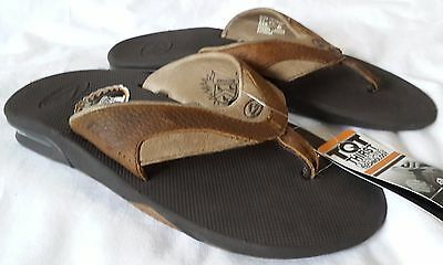 Men's Reef Sandals Size 7 8 Brown Leather Fanning  NEW NWT