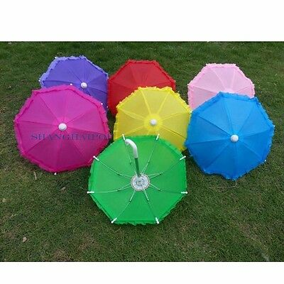 1 X Kids Small Umbrella Toy Parasol Brolly Dance Semiautomatic 21cm Pink/Green