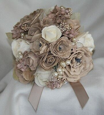 moka beige bouquet fleur artificielle mousse rose & boutonnière MARRIAGE perle
