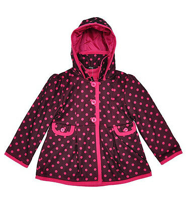 Ex George Girls Pink Spotty Dotty Spot Lined Jacket Coat Age 2 3 4 5 6 Years New