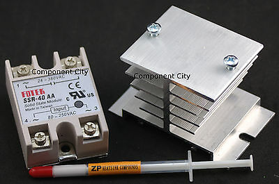 Solid State Relay SSR 40A + Heat Sink + Screws + Thermal Grease SSR-40AA