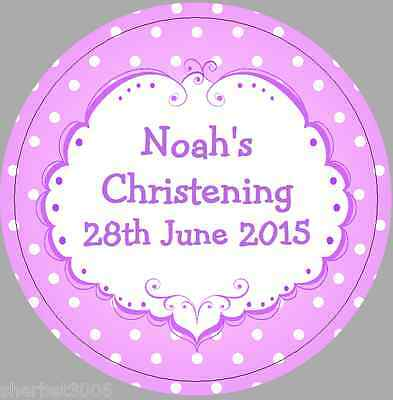 24 x 40mm Personalised Stickers Round Christening Lilac Frame Spots Labels Seals