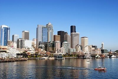 SEATTLE SKYLINE CITYSCAPE POSTER PRINT STYLE F 24x36 HI RES 9 MIL PAPER