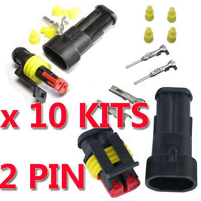 10 Kits Sets 2 Pin Way Car Auto Waterproof Seal Electrical Wire Connector Plug