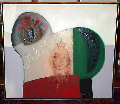 """Kovarsky Yehoshua Judicial  Large Rabbi Oil On Canvas Dated """"65"""" Subject:truth"""