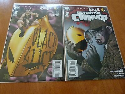 Helmet of Fate Series lot Detective Chimp #1 and Black Alice #1 (2007) Mint NM