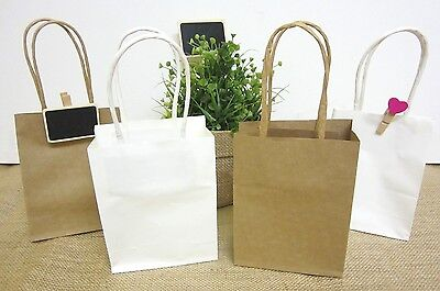 12 x SMALL WHITE BROWN KRAFT Lolly Candy BAGS Loot Party Box CRAFT Gift Bag