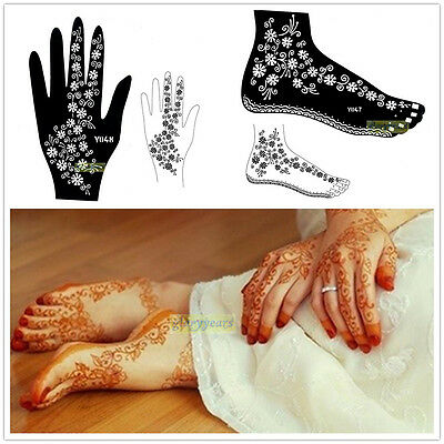 1 Sheet Large India Hand Feet Leg Wedding Henna Stencil Template Mehndi Body Art