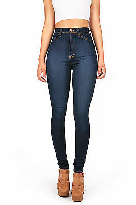 Vibrant Denim High Waist Lady Skinny Jeans High Waisted Skinnys Long Pants USA
