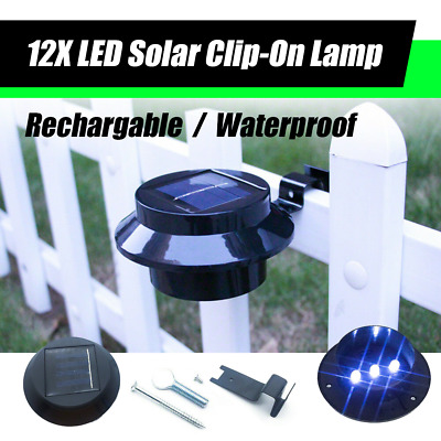 12X LED Solar Clip-on Fence Gutter Outdoor Garden Yard Pathway Lamp Light BLACK