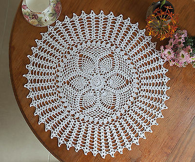 Hand Crochet Lace Cotton Pineapple Floral Doily Placemat Round 48CM White FP03