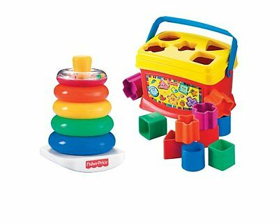 Fisher-Price Baby's First Blocks and Rock STACK BUNDLE, Kids Classic STACK TOYS