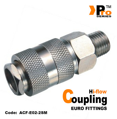 "1 x Euro Coupling - Hi Flow -Male Thread 1/4"" BSP-Air Line fittings- Air Supply"