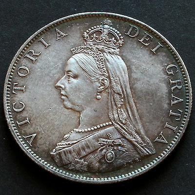 1887 Queen Victoria Jubilee Head Double Florin - Roman 1 - Attractively Toned
