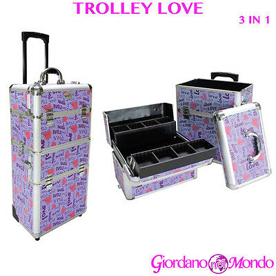 Trolley Estetista Love Parrucchieri Beauty Case Rigido Make Up Trucchi Nail Art
