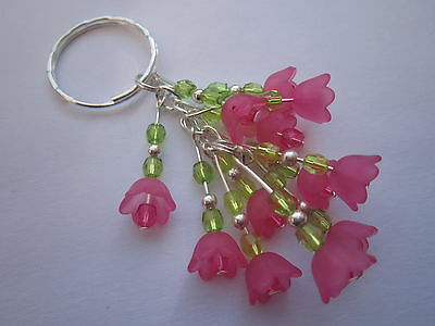Keyring / Bag Charm - Bunch of  Hot Pink Flowers - Silver tone