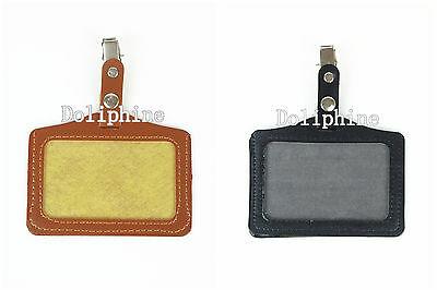 Horizontal Name Tag ID Badge Holder with Clip