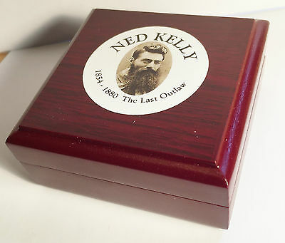 """New """"Ned Kelly #3"""" 1/10th oz HGE 999 Gold Australiana Coin In Wood D/Play Box"""