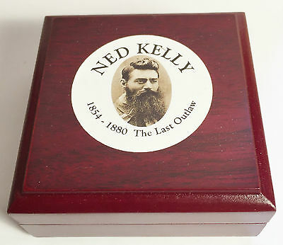 "New ""Ned Kelly #1"" 1/10th oz HGE 999 Gold Australiana Coin In Wood Display Box"