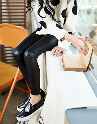 Baby Kids Girls children Synth leather Rock Star Party Black Pants leggings 1-8y