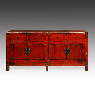 Fine Antique Chinese Shanxi Red Lacquered Painted Cabinet Or Sideboard 19Th C